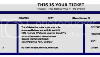 tiket percuma <i>F1 Petronas 2013</i>