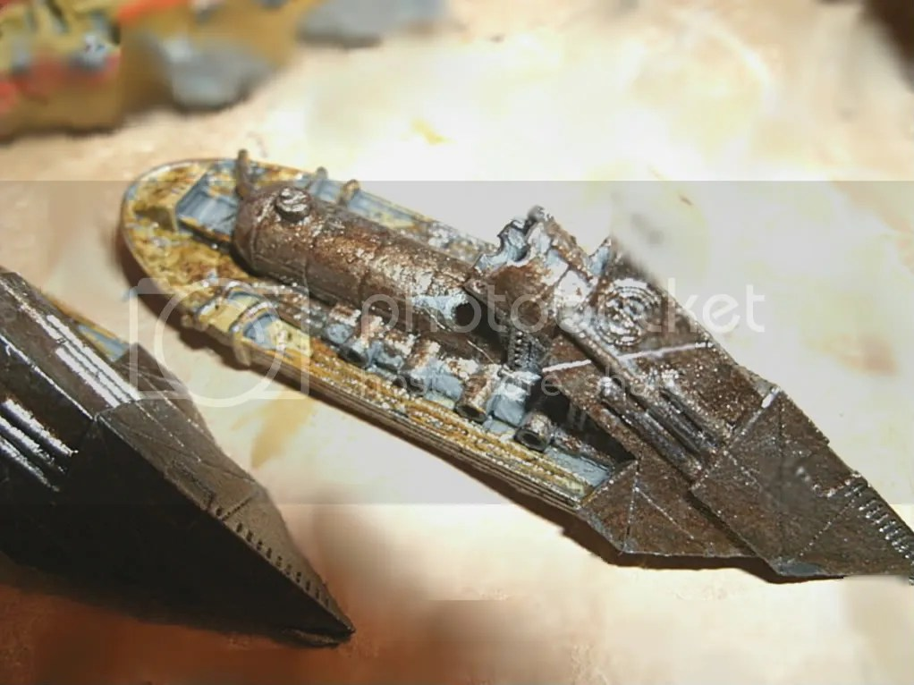 The Shroud Mages Infiltrator cruiser, in my distinctive paint scheme, almost done.