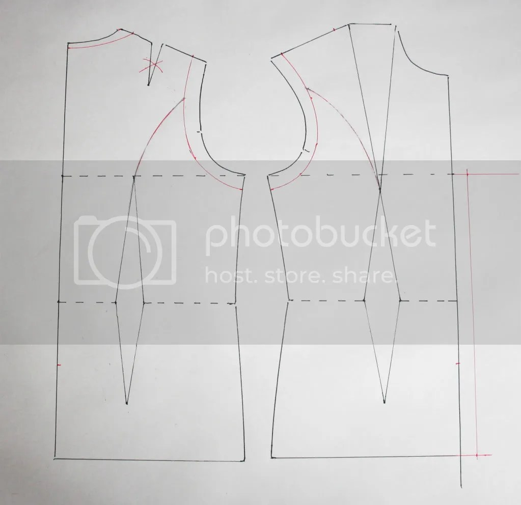 Vest pattern draft stage 1