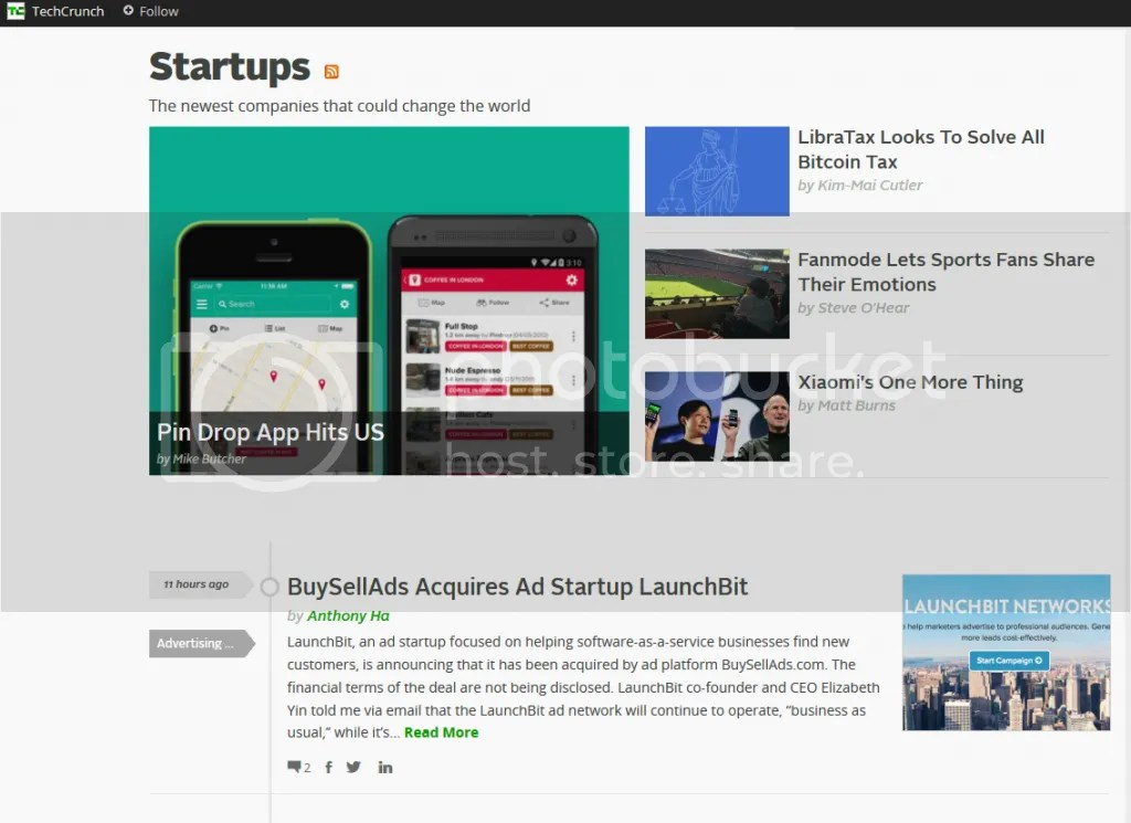 Start-ups news page from TechCrunch