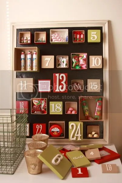 Home made advent calendar with boxes