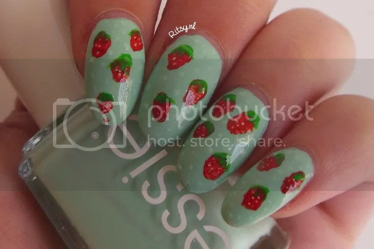 Strawberries on Essie Mint Candy Apple