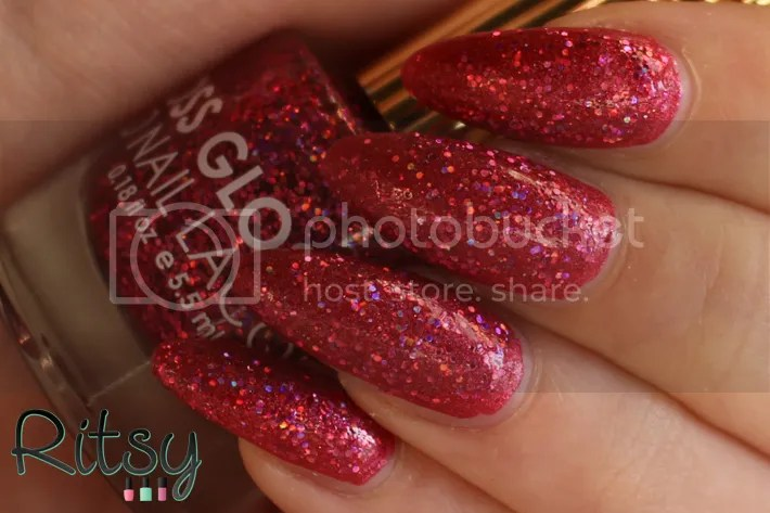 Floss Gloss Second Base layered on top of Picture Polish Scarlett