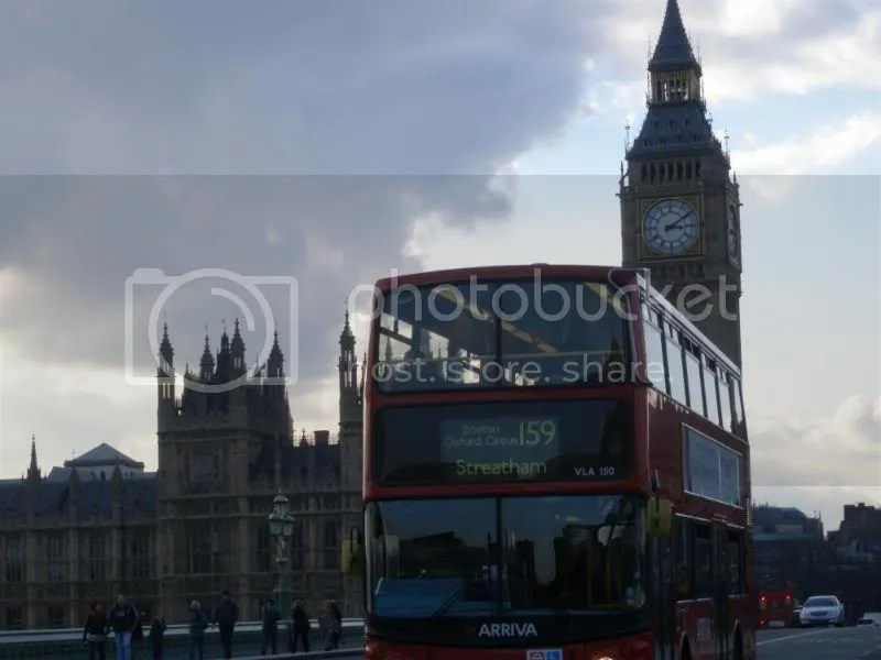 Big Ben, Houses of Parliament, and a Double Decker Bus.