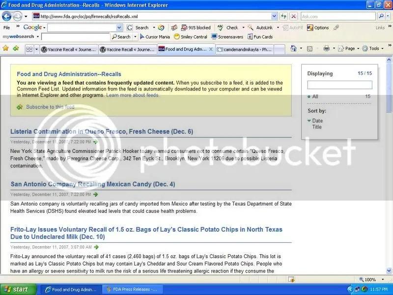 FDA Recalls Top Page