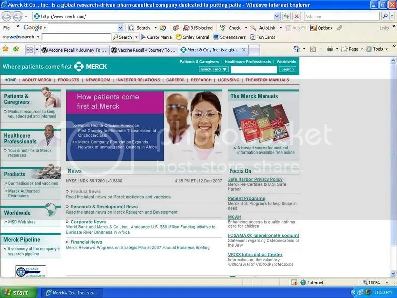 Merck Home Page on 12/13