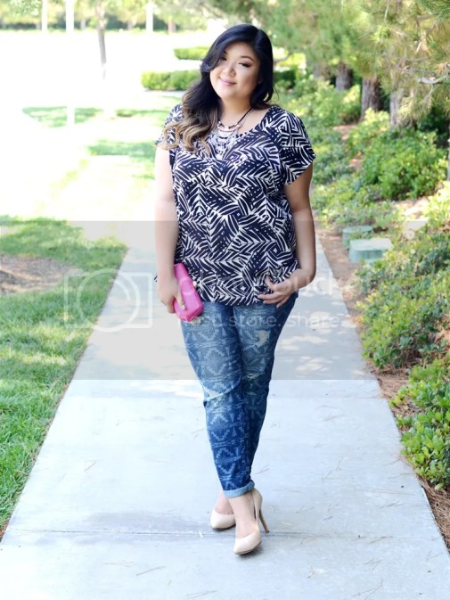 Curvy Girl Chic Target Ava & Viv Tribal Print Outfits Boyfriend Jeans