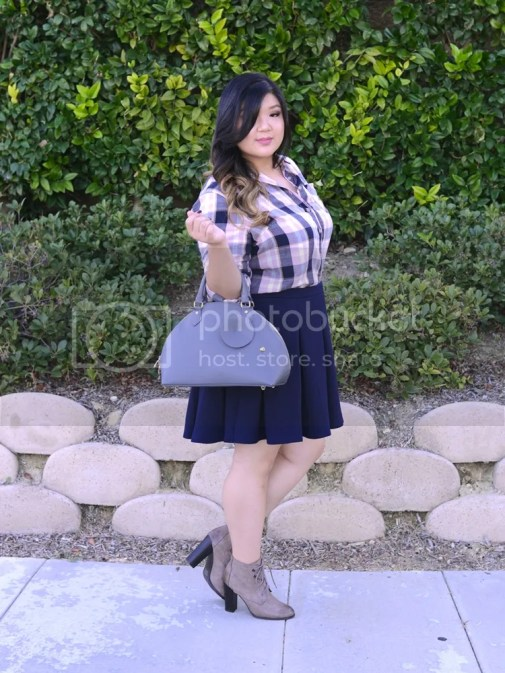 Curvy Girl Chic Plus Size Fashion blog Fall Plaid Outfit Ideas with Target