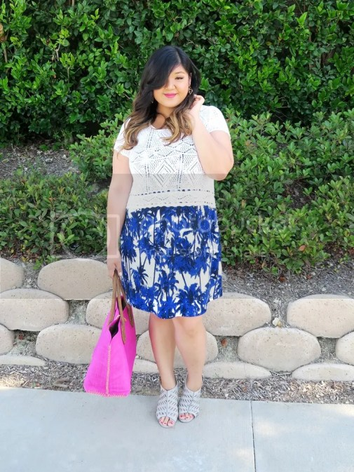 Curvy Girl Chic Plus Size Fashion Blog Karen Kane Gwynnie Bee Palm Print Tank Dress Lilly Pulitzer Target Tote