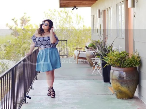 Curvy Girl Chic Plus Size Fashion Blog Coachella Festival Fashion Lookbook Torrid Insider Ruffled Printed Crop Top Denim Skirt