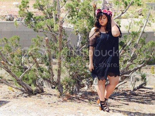 Curvy Girl Chic Plus Size Fashion Blog Coachella Festival Fashion Lookbook Torrid Insider Black Lace Cold Shoulder Dress Wide Lace Up Heels Choker