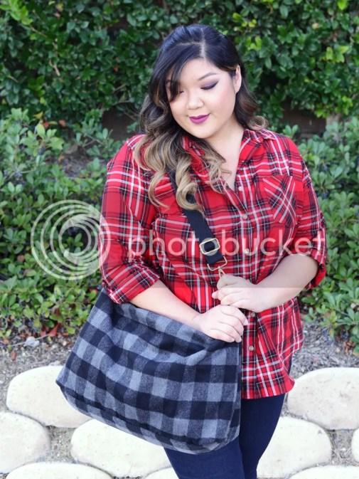 Curvy Girl Chic Plus Size Fashion Blog Target Ava and Viv Maximum Impact Minimum Effort Holiday Looks Red Plaid Shirt Casual