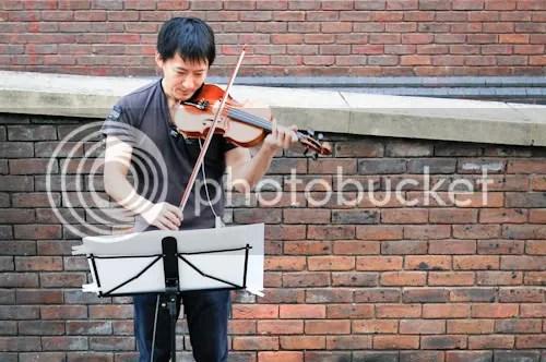 Millenium Bridge Sunset Violinist 2