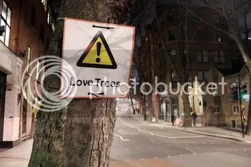 Urban Intervention Love Trees Sign
