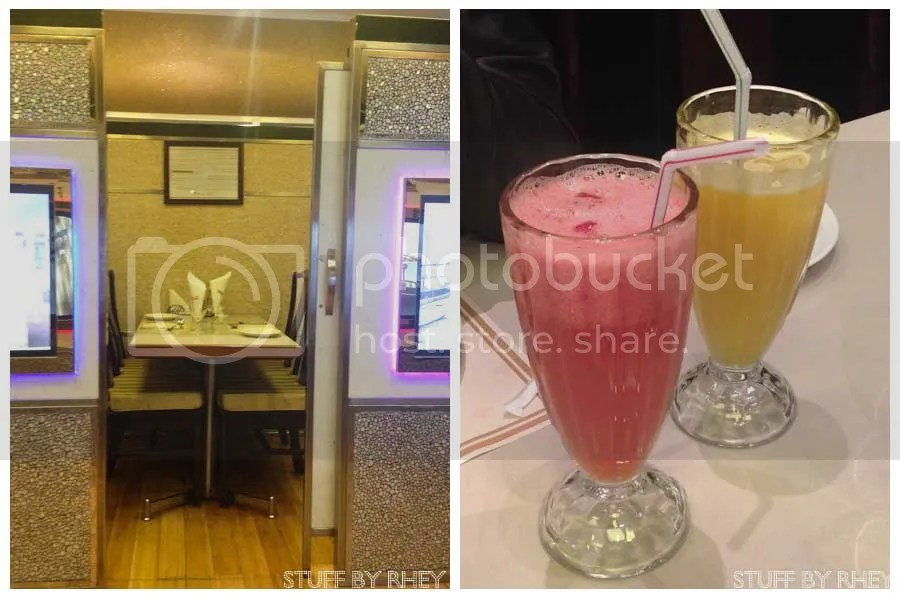 the typical private booths at Rainbow Steakhouse and Fresh Watermelon juice and Orange juice