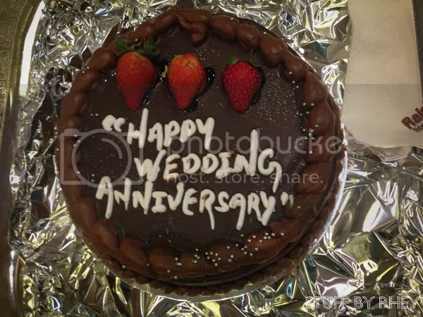 Chocolate wedding annniversary cake from Rainbow Steakhouse
