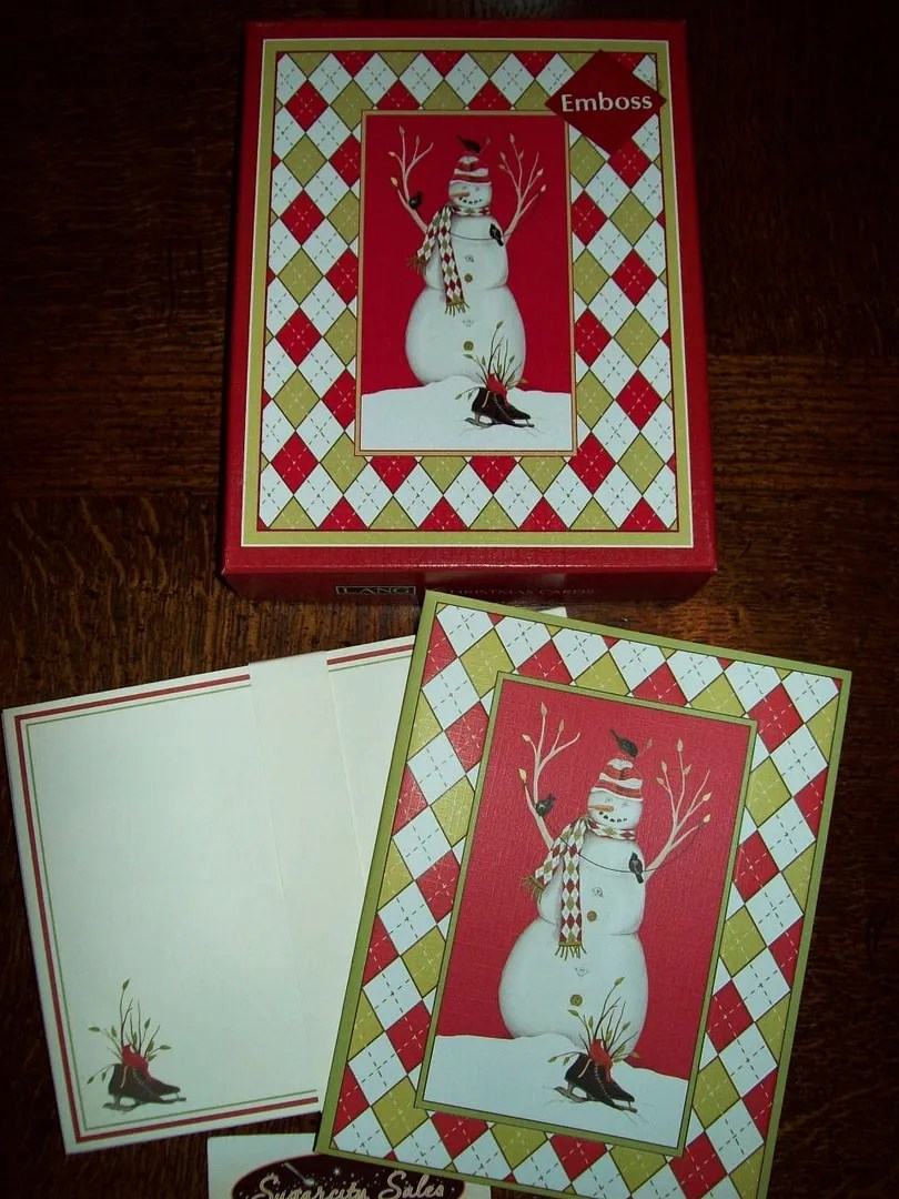 NEW BOXED LANG Mary Lake Thompson Argyle Snowman