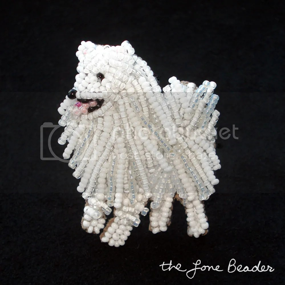 beaded American Eskimo dog jewelry pin pendant Etsy Samoyed bead embroidery