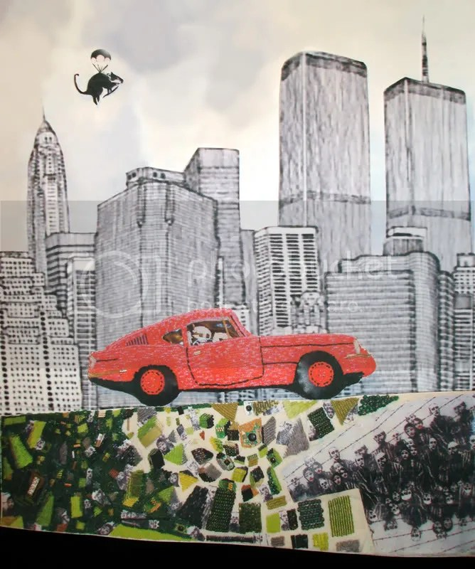 Banksy vs. Beastie Boys. To the 5 Boroughs. Pink car. Graffiti NYC skyline 9/11. Parachute rat.
