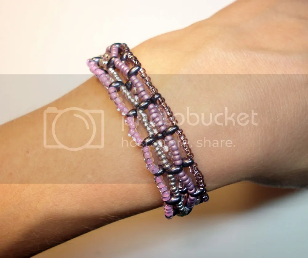 Preciosa Twin Beads beadweaving bracelet purple two hole beads Czech Republic glass Etsy