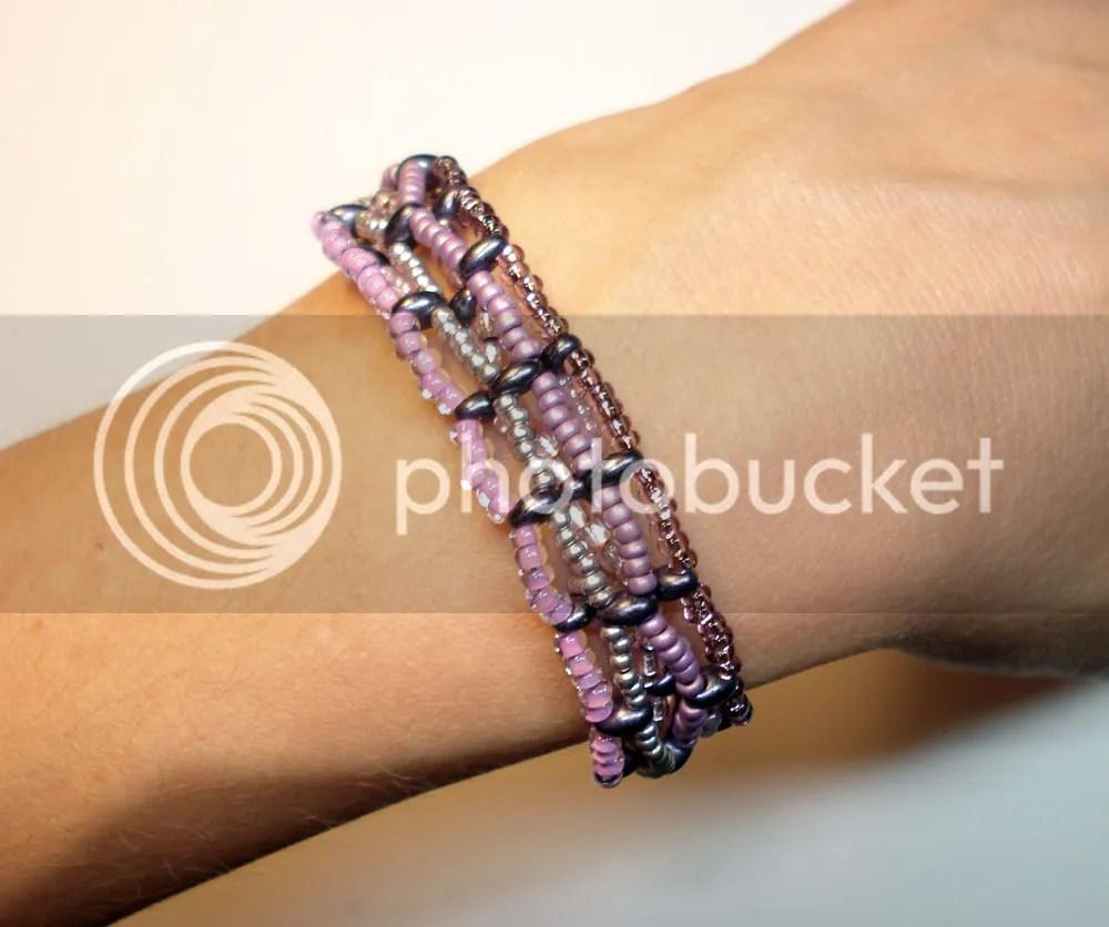 Preciosa Twin Beads beadweaving bracelet purple two hole beads Czech Republic glass Etsy