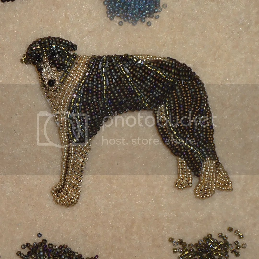 beaded dog pet portrait brindle gold Borzoi Russian Wolfhound bead embroidery seed beads the lone beader etsy artist boston