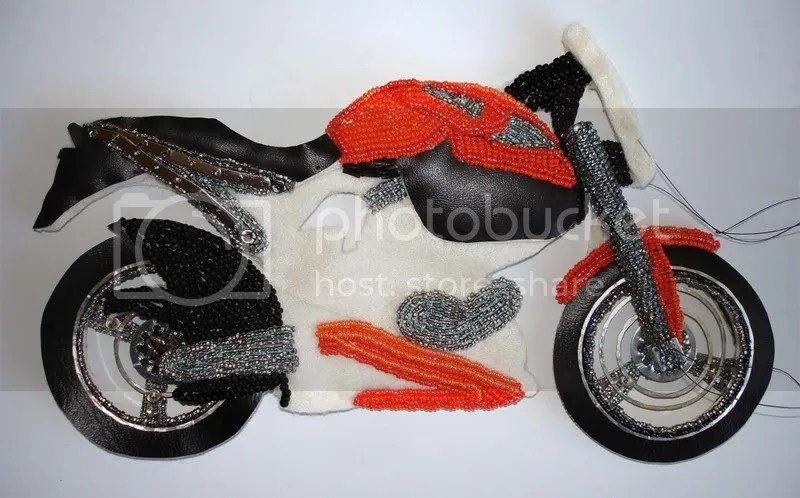 beaded Buell X1 Lightning motorcycle bead embroidery beading blog pop art Boston