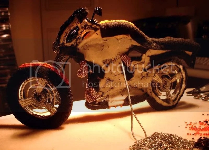 beading blog beaded Buell fiber motorcycle pop art beadwork bead embroidery