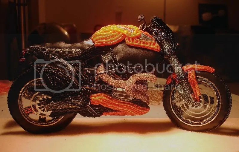 beading blog beaded Buell X-1 lightning motorcycle pop art beadwork bead embroidery