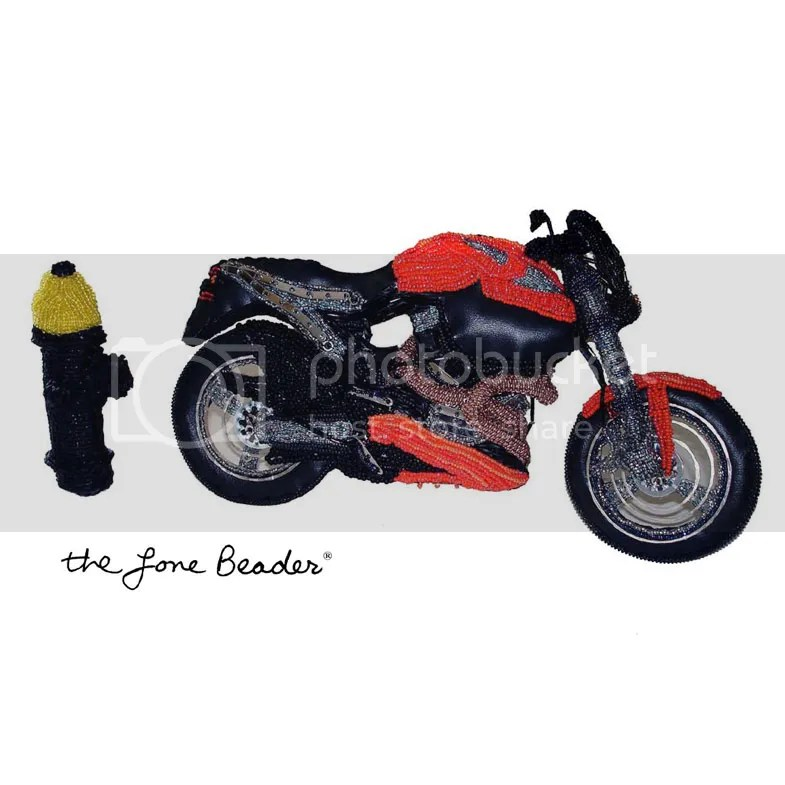 beaded beadwork Buell x-1 Lightning motorcycle bead embroidery fiber art replica vehicle etsy thelonebeader