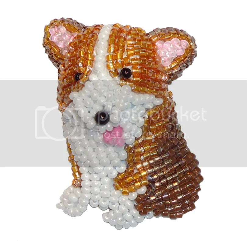 Beaded Corgi Pin Pendant Bead Embroidery Workshop Boston Bead Company Salem MA