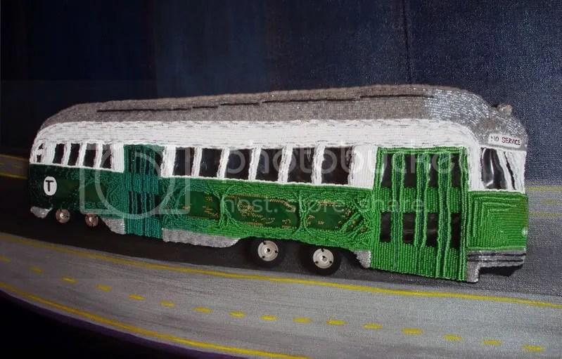 Beaded Boston trolley train MBTA T citgo sign pop art artist lone beader kenmore square city gas price