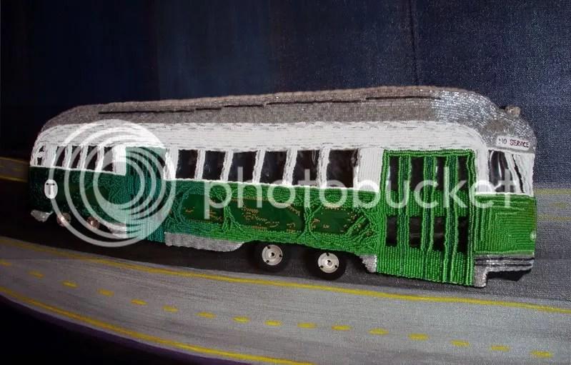 Beaded Boston trolley train MBTA T citgo sign pop art artist lone beader kenmore square city gas price