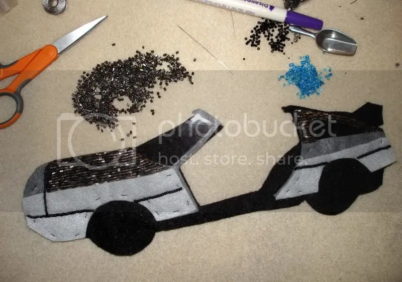 chopped off beaded delorean car bead embroidery pop art back to the future beading table