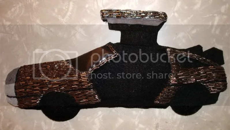 beaded stainless steel car DeLorean back to the Future time machine pop art bead embroidery