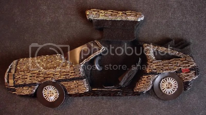 beaded John Delorean DMC-12 bead embroidery pop art beadwork fiber car artist