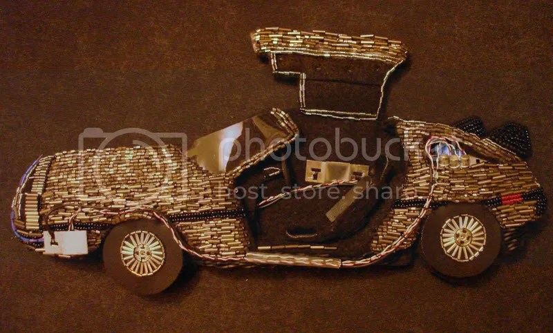 Back to the Future Parts beaded DeLorean pop art beadwork fiber mixed media artist