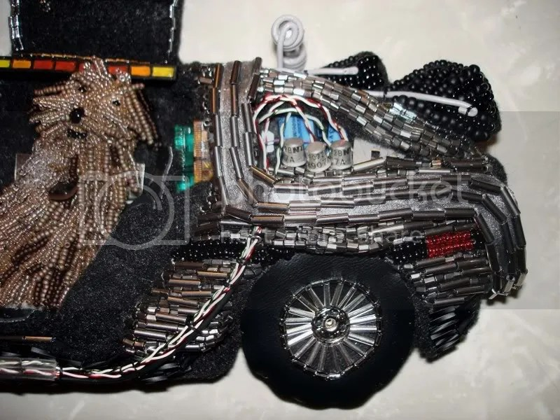 beaded Back to the Future DeLorean Time machine bead embroidery pop art Einstein sheepdog seed beads beading