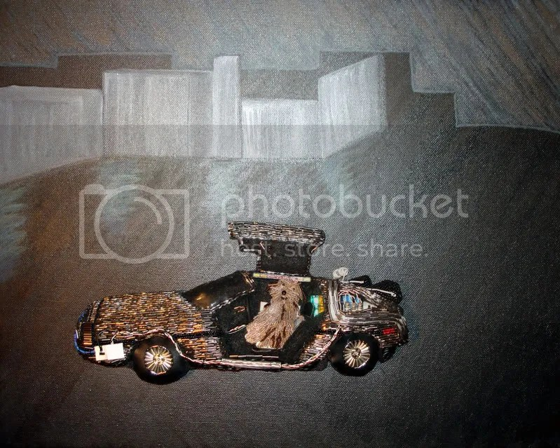 beaded Back to the Future car DeLorean acrylics painting pop art bead embroidery