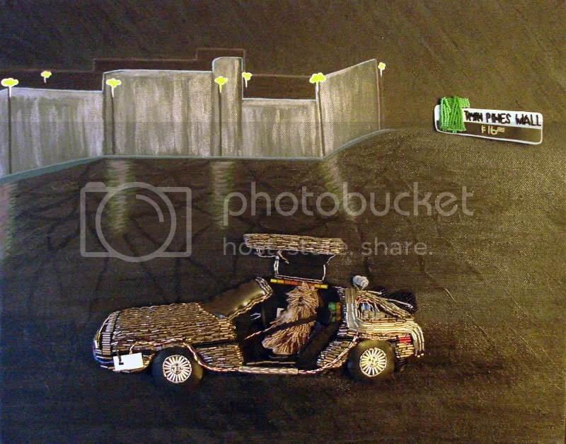 Back to the Future car DeLorean acrylics Einstein dog pop art beaded Twin Pines Mall