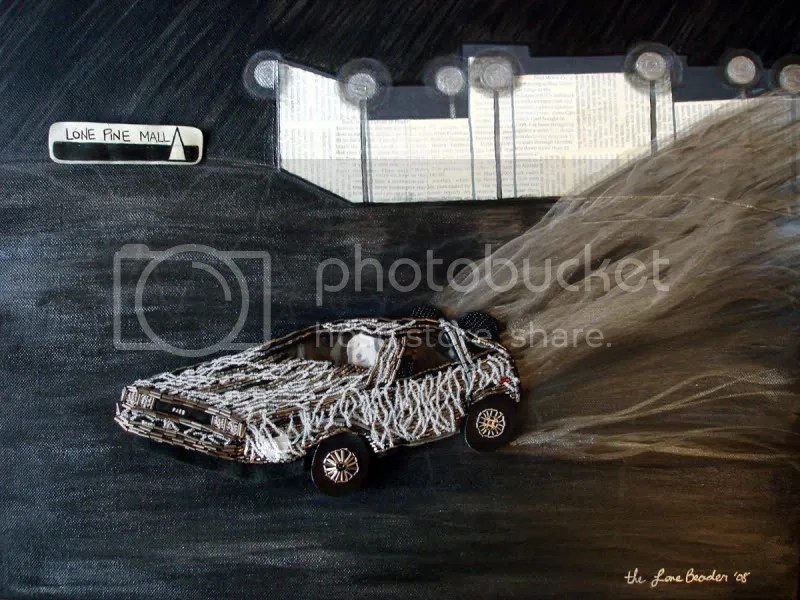 Time Traveler Trilogy beaded Back to the Future DeLorean Einstein pop art black paintings