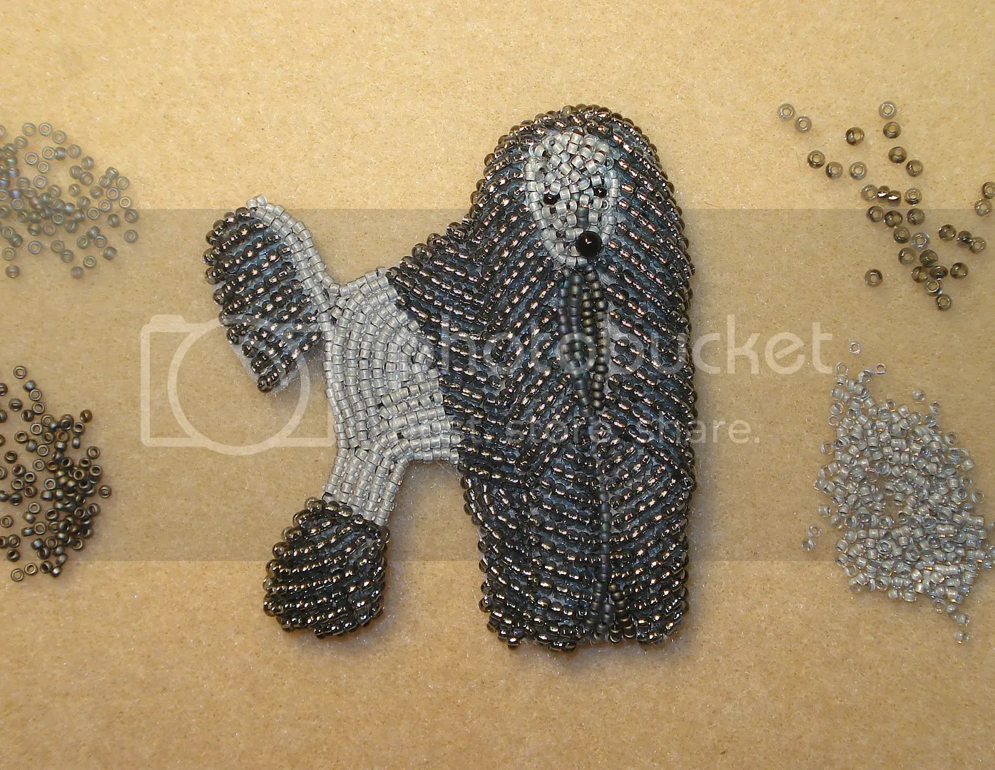 felt poodle bead embroidery seed beads beadwork dog collar etsy jewelry work in progress