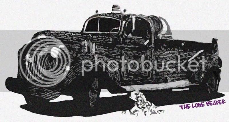 The Lone Beader. Engine Co. 6. Graffiti fire truck.