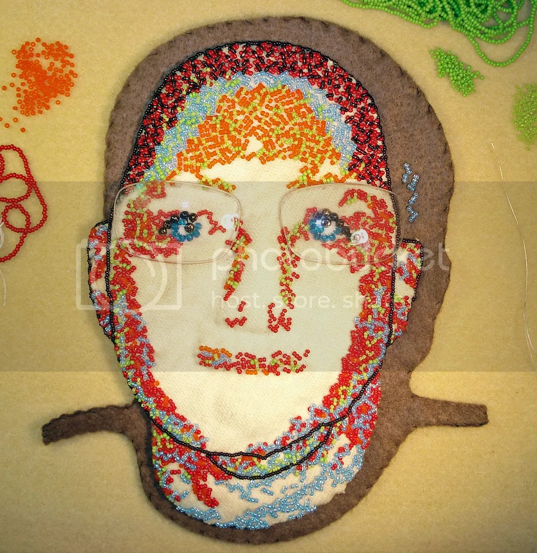 freeform bead embroidery portrait progress etsy free shipping small business saturday
