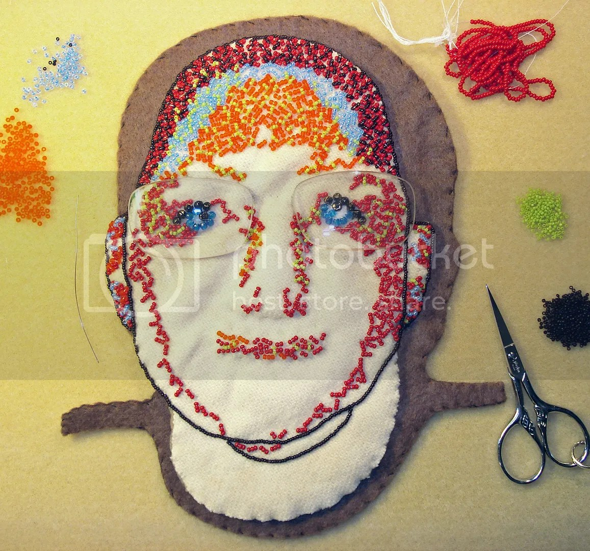 beadwork beaded portrait bead embroidery recycled eyeglass lenses mixed media fiber art