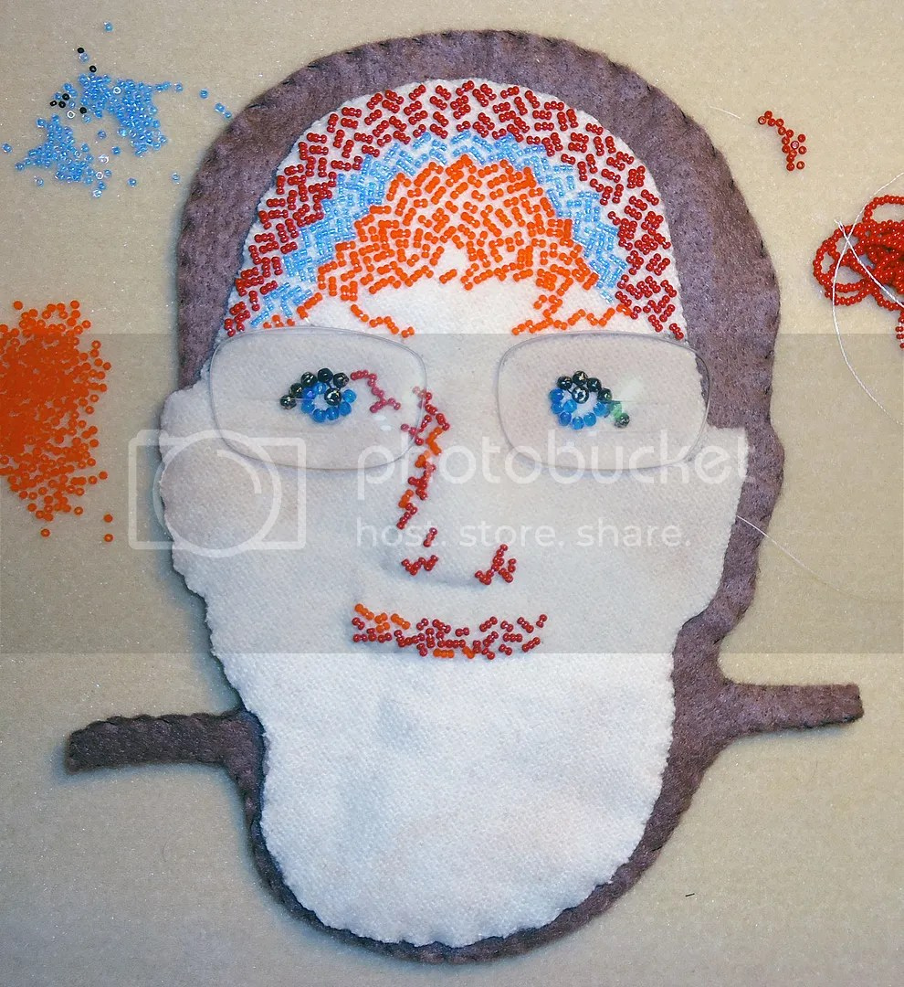 beaded portrait recycled eyeglass lenses bead embroidery beadwork beading mixed media pop art relief
