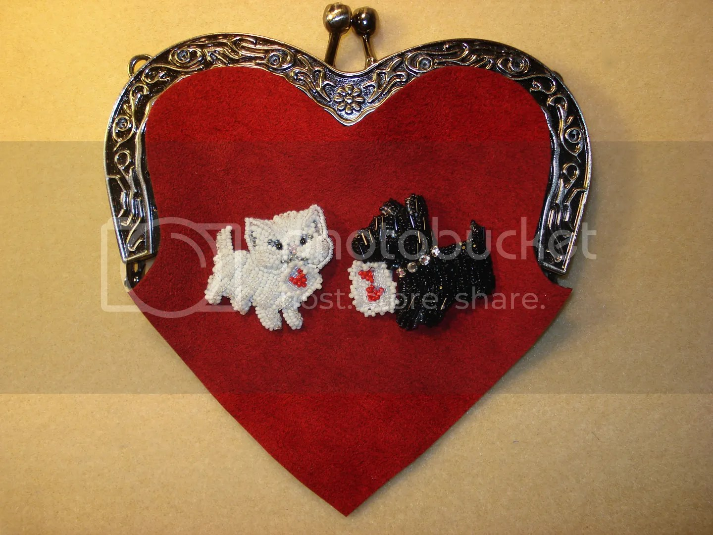 beaded cat scottie dog heart shaped purse bead embroidery etsy custom order
