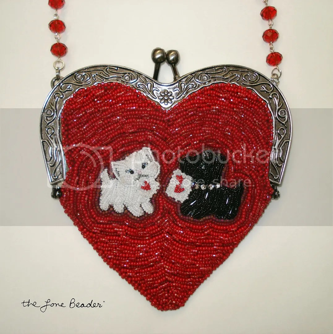beaded heart-shaped purse bead embroidery etsy custom order white cat Scottie Dog