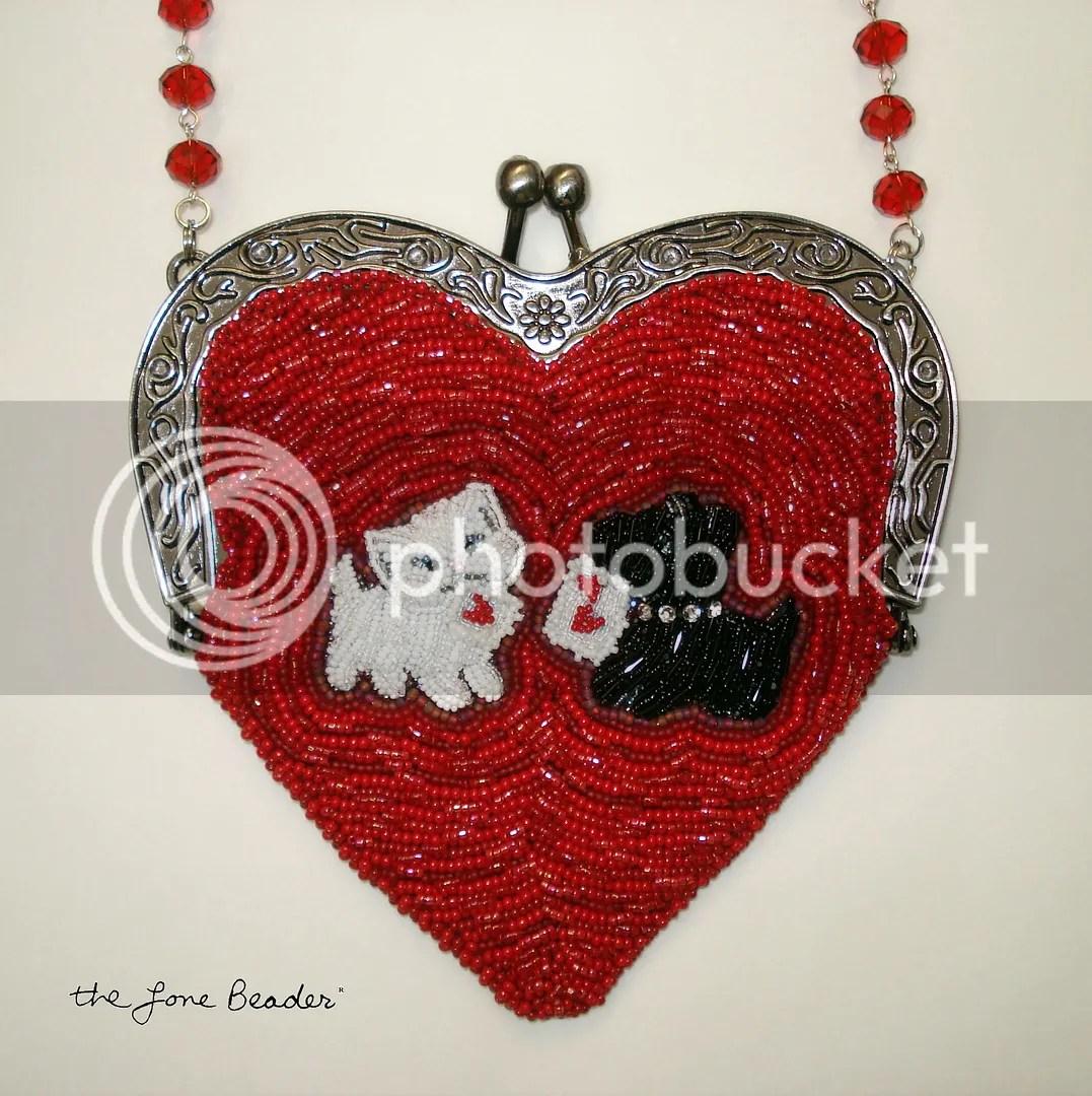 beaded heart-shaped purse bead embroidery etsy custom order white cat Scottie Dog