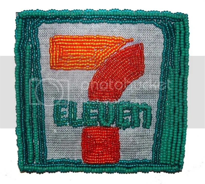 Bead embroidered 7 Eleven pop art beaded Boston trolley MBTA T train citgo gas station sign seed beads